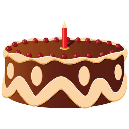 gateau: birthday cake with a candle  Illustration