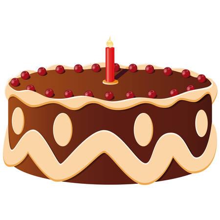 gateau: torta di compleanno con una candela