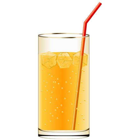 carbonated: cold drink with ice cubes