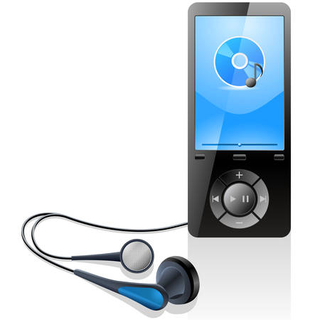 sounding: MP3 player with headphones