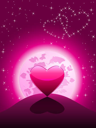 Lonely heart in the moonlight Vector