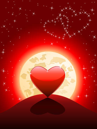 Lonely heart in the moonlight Stock Vector - 8711346