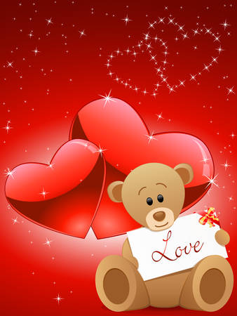 Valentines Day card with a teddy bear Vector
