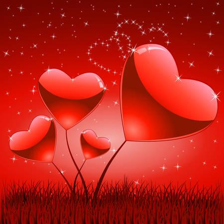 flores de corazón en el Prado Ilustración de vector