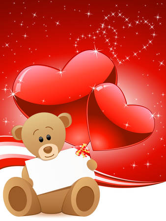 greeting card with teddy bear and hearts Vector