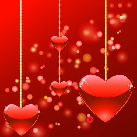 valentine card with hanging hearts Stock Vector - 8711364