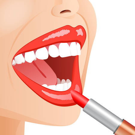 young woman face with lipstick Vector
