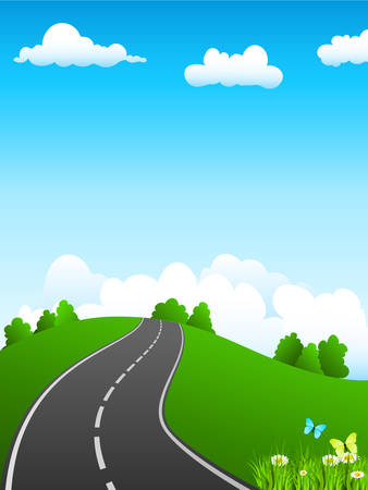 green landscape and road Vector