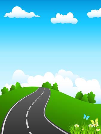 groene landschap en over de weg Stock Illustratie