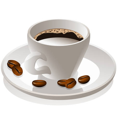 cup and saucer: coffee cup and coffee beans