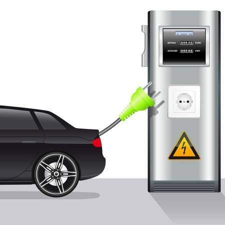electric automobile: electric car and power stationillustration