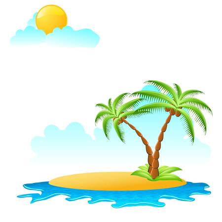 tropical palm on island with sea waves Vector