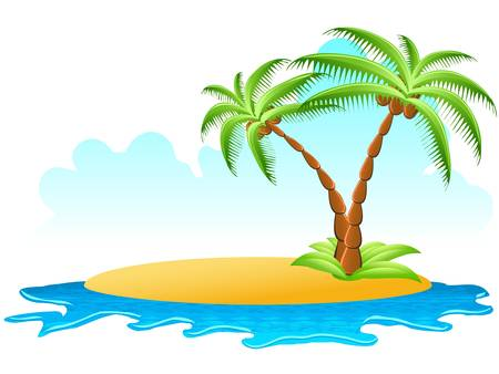 tropical palm on island with sea waves Stock Vector - 9482062