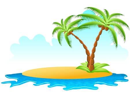 tropische palm op eiland met zee golven