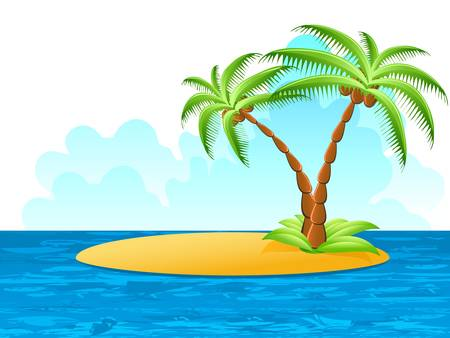 high sea: tropical palm on island