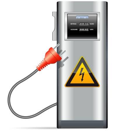 recarga: estaci�n de carga el�ctrica para autom�viles Vectores