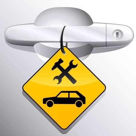 mekanik: bil dörrhandtag och stations tecken bilservice