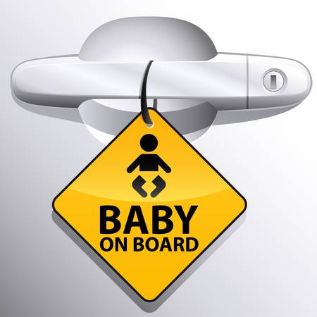 car safety: car door handle and baby on board sign