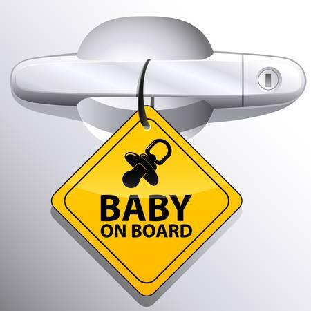 bebe a bordo: coche manija de la puerta y el beb� en el signo bordo