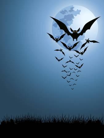 bat: bats in the moonlight Illustration