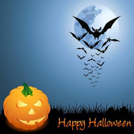 vleermuizen en pompoen op de halloween-kaart  Stock Illustratie