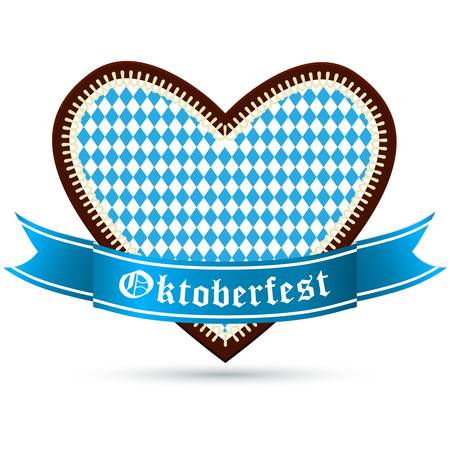 wiesn: gingerbread heart with bavarian colors for oktoberfest Illustration