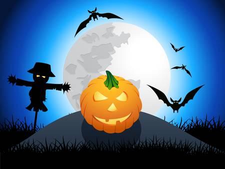 autumn scarecrow: halloween card