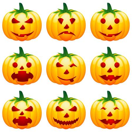 wicked set: halloween pumpkin icons Illustration