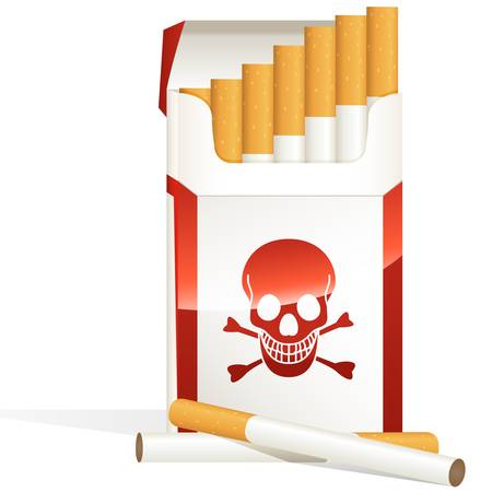 baccy: cigarette pack with skulls symbol