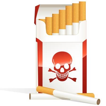 pernicious: paquete de cigarrillos con el s�mbolo de los cr�neos Vectores
