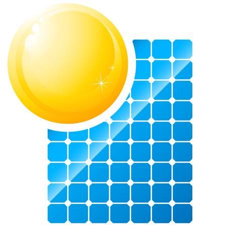 solar cells: sun and solar panel
