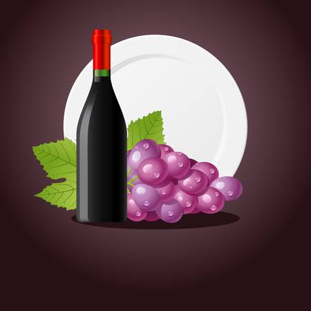 red wine pouring: grapes and wine bottle Illustration