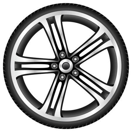 cromo: ruedas de aluminio Vectores