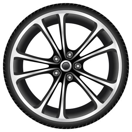 car drawing: aluminum wheel