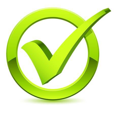 garrapata: 3D s�mbolo de marca de verificaci�n Vectores