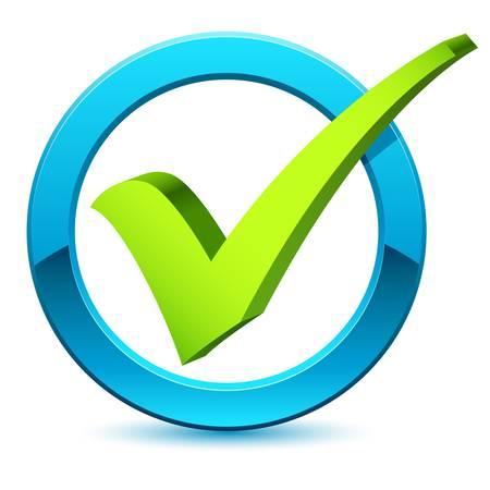 garrapata: 3D símbolo de marca de verificación Vectores