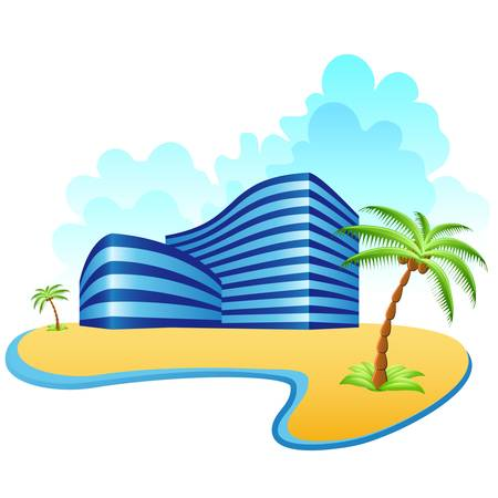 island clipart: hotels and the beach