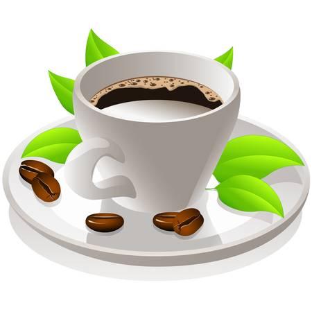 coffee leaf: coffee cup Illustration