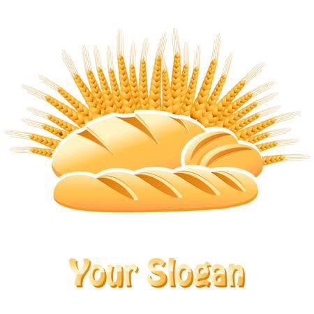 буханка: Хлебобулочные знак с хлебом, багеты и булочки Иллюстрация