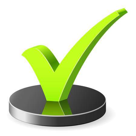 approved icon: 3D check mark symbol Illustration