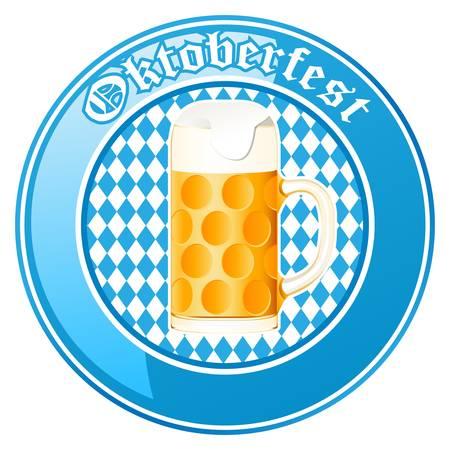 chope biere: Oktoberfest bouton avec chope de bi�re Illustration