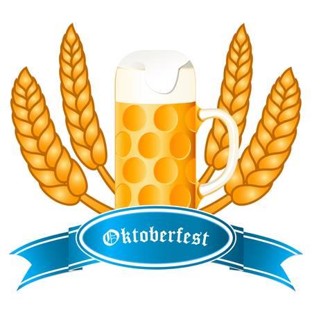malto d orzo: Oktoberfest banner con le orecchie tazza di birra e di grano Vettoriali
