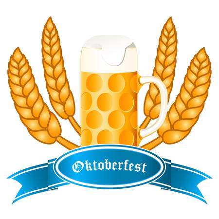 beer garden: Oktoberfest banner with beer mug and wheat ears