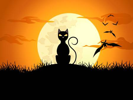 black cat silhouette: halloween card with cat and bat