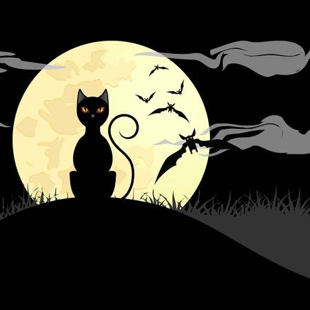 halloween background with black cat, bats und shiny full moon Vector