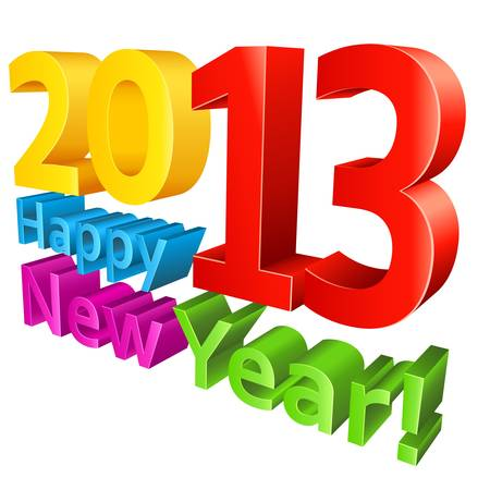 Happy New Year 2013 isolated on white Stock Vector - 15467472