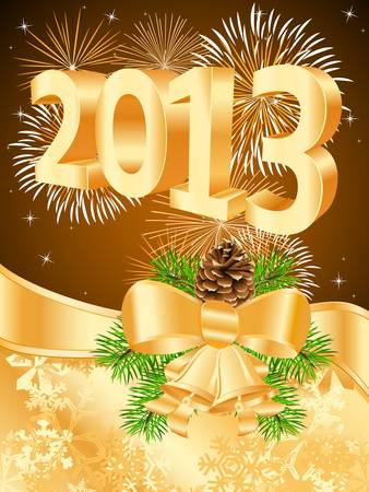 2013 card with pinecone, golden ribbon and fireworks Vector