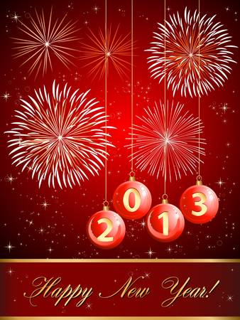 2013 Happy new year card with fireworks and christmas balls  Vector
