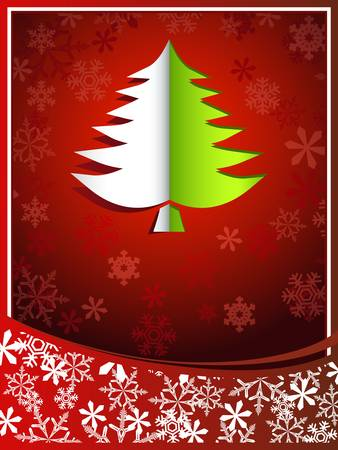 Christmas card with pinetree Stock Vector - 15952577