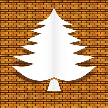 christmas tree on bricks wall Stock Vector - 16311636